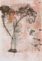 Ranunkeln orange, 2015, 30 x 21 cm, printing ink on paper on wood