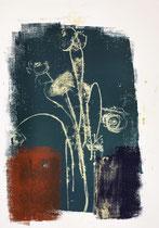Blumen in Vase 1, 2015, 60 x 42 cm, on paper on wood