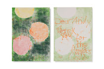 Dear Andy, 2014, series of 2 monotypes, 60 x 42 cm, on paper on wood