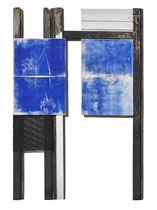 Ranunkeln in ultramarin, 2016, 189 x 127 cm, on paper, wood and fabric