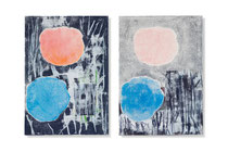 flowers 7 – 8, 2014, series of 2 monotypes, 60 x 42 cm, on paper on wood