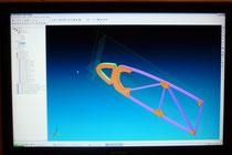 Ansicht eines  Rippenmodels im 3D Simulation mit entsprechenden Gewichts und Schwerpunktlage