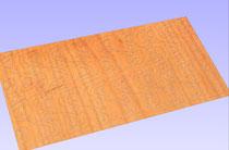 Rippenfräsgruppe Birkensperrholz t=1mm in 3D Ansicht des Fräsprogramms.