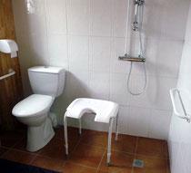 Toilettes hautes, barres d'appui, robinet bas, tabouret adapté. - Les noisetiers chambres d'hôtes au coeur du val de noye