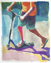 "Summer Ride I, Gouache  on Paper, 5x7"" Available through NSAA Gallery"