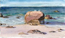 "Beach Boulder Rest Stop, watercolor, 7x12""--Available framed"