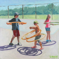 "Meet the Hoopers, Oil, 12x12"" Available Framed"