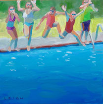 "Summer Jumpers, Oil on board, 12x12"" Available through NSAA Gallery"