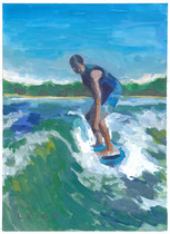 "Ride the wake, Acrylic on Paper, 8x10"" Private Collection"