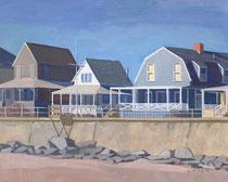 Long Beach Cottages, Winter, Gouache, SOLD