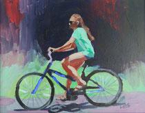 """Beach Biker Girl, Acrylic on Board, 8x10"""" Available"""