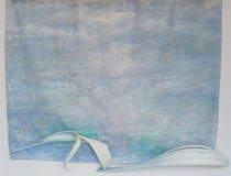 calma y equilibrio calmness and balance   156 x 224 cm   with painted seed pods from palm trees