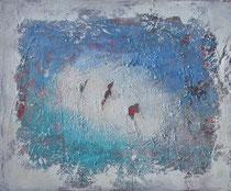 traces of the past - las huellas del pasado  técnica mixta sobre lienzo 54 x 65 cm