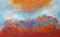 ENTRE EL CIELO Y LA TIERRA    díptico 100 x 162 cm  - vendido/sold