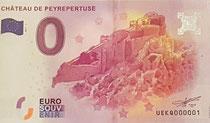 Le billet souvenir du Château de Peyrepertuse de la monnaie de Paris au tarif de 2 €