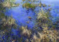 MOORBLAU I // 140 x 100cm // Diesen Gemäldezyklus können Sie auch mieten. Gern mache ich Ihnen dazu ein Angebot.