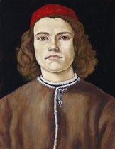 d'après Botticelli, jeune homme à la tunique marron et toque rouge, 39/30 cm, 2021