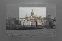 Blick über das Goldene Horn zum Galata Turm