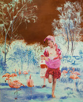 Ich bin kein Flamingo, 160 x 130 cm, Oil on canvas, 2016