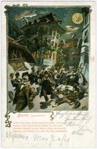"""Karikatur mit Lobgedicht auf das """"Batzenhäusl"""" in Zwölfmalgreien, Viertel Zollstange (ab 1911 Stadtgemeinde Bozen).  Kombinationsfarbdruck 9 x 14 cm ohne Künstlersignatur; Impressum:  J(ohann). F(ilibert). A(monn). B(ozen). um 1907.  Inv.-Nr. vu914kfd0001"""