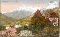 Texelgruppe der Ötztaler Alpen von der Burg PLANTA in der Plantastraße in Obermais aus. Photochromdruck 9x14cm; Edition Photoglob, Zürich um 1905.  Inv.-Nr. vu914pcd00050