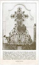 Werbekarte des Kitzbühler Kunstschmied Josef INFELD mit Abbildung eines Werkstücks. Autotypie 9 x 14 cm; kein Impressum 1927.  Inv.-Nr. vu914at0002