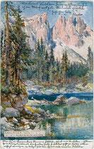 Karersee (Gemeinde Welschnofen) und Latemar in den Dolomiten. Farbautotypie 9x14cm; Entwurf: J. Lehr, Verlag A. Edlinger, Innsbruck um 1920.  Inv.-Nr.  vu914fat00083