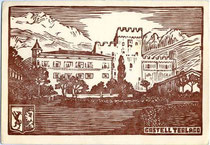 Castel Terlago. Holzschnitt 10 x 15 cm (Entwurf eines anonymen Künstlers) ohn eImpressum; postalisch gelaufen 1962.  Inv.-Nr. vu105hs00001