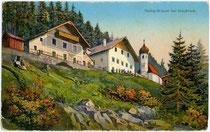 Wallfahrtskirche HEILIGWASSER und Gaststätte in Igls. Photochromdruck 9x14cm; K(arl). Redlich, Innsbruck; postalisch gelaufen 1914.  Inv.-Nr. vu914pcd00037