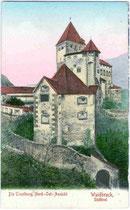 Die TROSTBURG über Waidbruck. Farblichtdruck 9x14cm; Aufnahme u. Verlag Eng(elbert). Senoner, Waidbruck  um 1905.  Inv.-Nr.vu914fld00012
