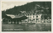 Hotel SCHOLASTIKA am Ostufer vom Achensee, Gemeinde Achenkirch, Bezirk Schwaz. Gelatinesilberabzug 9x14cm; C(lemens). Lindpaintner, Innsbruck um 1920.  Inv.-Nr. vu914gs00230