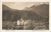 "Ehemaliger Jagdhof Kaiser Maximilians I. und Ansitz RIS in Flaurling. Heliogravüre 9x14cm; ""Monopol"" Verlag, Schöllhorn & Co, Innsbruck; postalisch gelaufen 1932. Inv.-Nr. vu914hg00031"