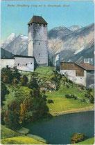 Burgruine Strassberg in Gossensass, Gemeinde Brenner. Photochromdruck 9 x 14 cm; Impressum: Wilhelm Stempfle, Innsbruck; handschriftl. datiert: 1915.  Inv.-Nr. vu914pcd00199