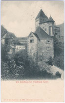 Die TROSTBURG über Waidbruck. Lichtdruck 9x14cm; Joh(ann). F(ilibert). Amonn, Bozen um 1905.  Inv.-Nr. vu914ld00073