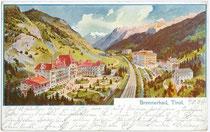 Hotel BRENNERBAD (1922 abgebrannt). Farbautotypie 9x14cm; Entwurf: anonymer Illustrator; postalisch gelaufen 1904.  Inv.-Nr. vu914fat00025