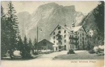 """Seekofel (2.810m) vom Hotel """"Wildsee"""" aus. Lichtdruck 9 x 14 cm; Impressum: Würthle & Sohn, Salzburg um 1900.  Inv.-Nr. vu914ld00149"""