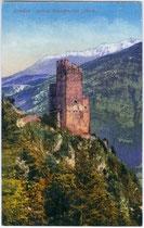 Burgruine Schrofenstein in Stanz bei Landeck. Photochromdruck 9 x 14 cm; Impressum: Purger & Co., München; postalisch befördert 1924.  Inv.-Nr. vu914pcd00061