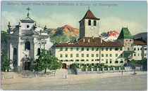 Benediktinerabtei Muri-Gries mit Kirche zum Hl. Martin (links). Photochromdruck 9 x 14 cm; Impressum: Lorenz Fränzl, München 1910-12.  Inv.-Nr. vu914pcd00031