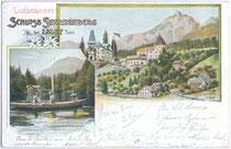 Burg Starkenberg mit Brauerei seit 1888 und der Starkenbergsee in Tarrenz, Bzk. Imst, Tirol. Kombinationsfarbdruck (dreiteilige Mehrbildkarte) 9 x 14 cm; Impressum: C(arl). Lampe, Innsbruck um 1900.  Inv.-Nr. vu914kfd00016