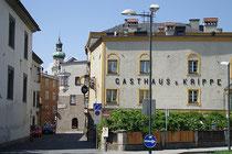 """Gasthaus """"zur Krippe"""" am östlichen Eingang in die Altstadt von Hall in Tirol, Bezirk Innsbruck-Land, Tirol beim Milser Tor (Adresse: Milser Straße 5). Digitalphoto; © Johann G. Mairhofer 2013.  Inv.-Nr. 1DSC07245"""