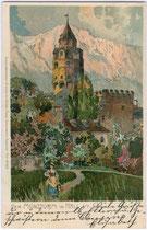 Burg HASEGG mit dem Münzerturm von Süden. Chromlithographie (Künstlersignatur unleserlich) 9 x 14 cm; Impressum: Kunstverlag Otto Zieher, München um 1895.  Inv.-Nr. vu914clg00029