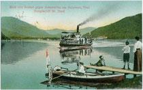 """Dampfschiff """"St. Joseph"""" vor Anlegemanöver beim Seespitz. Farblichtdruck 9 x 14 cm; Impressum: Rob(ert). Harth, Achensee (ohne Ortsangabe); postalisch gelaufen 1910.  Inv.-Nr. vu914fld00022"""