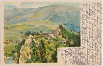Burg TRAUTSON von Südwesten. Chromolithographie 9x14cm; kein Impressum, postalisch gelaufen um 1910.  Inv.-Nr. vu914clg00030