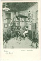 Zechrunde im Künstler- und Dichtererker vom Bozner BATZENHÄUSL. Lichtdruck 9x14cm; J(ohann). F(ilibert). A(monn). B(ozen) um 1900.  Inv-Nr. vu914ld00054