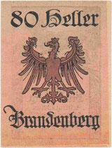 Notgeldschein zum Nominale 80 Heller der Gemeinde Brandenberg, Bezirk Kufstein, Tirol (Revers). Druck: Wagner'sche Universitätsdruckerei Innsbruck 1921.