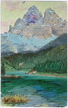 Lago di Misurina (Comune di Auronzo di Cadore, Provincia di Belluno) und die Drei Zinnen. Farbautotypie 9x14cm; Entwurf: R. A. Höger, Verlag Joh(ann). F(ilibert). Amonn, Bozen um 1910.  Inv.-Nr. vu914fat00046