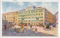 """""""Grand Hotel de l'Europe"""", Südtiroler Platz 2. Farbautotypie 9 x 14 cm nach Entwurf eines anonymen Künstlers um 1925. Impressum: Wagner'sche Univ.-Buchdruckerei, Innsbruck.  Inv.-Nr. vu914fat00016"""