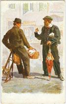 Bauer aus Jenesien (rechts), bis 1919 Gerichtsbezirk Bozen, heute Bezirksgemeinschaft Salten-Schlern. Farbautotypie 9 x 14 cm nach einem Original von Adolf Kaspar (1877-1934). Impressum: Edit. Romberger, Olmütz um 1910.  Inv.-Nr. vu914fat00101
