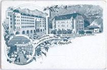 Ansitz BENDELSTEIN, Marktgemeinde Steinach am Brenner und Weinhaus JÖRGELE in Innsbruck, Herzog-Friedrich-Straße, Besitzer Josef Peer. Autotypie 9 x 14 cm; kein Impressum, um 1910.  Inv.-Nr. vu914at00010
