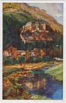 Schloss Tratzberg in Stans bei Schwaz. Farbautotypie 9 x 14 cm; Entwurf: Signatur unleserlich; Verlag G(eorg). Angerer, Schwaz; Druck: Wagner, Innsbruck um 1910.  Inv.-Nr. vu914fat00070